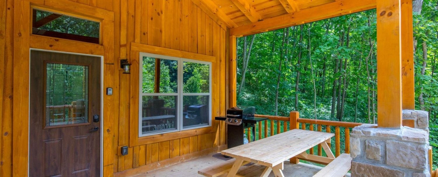 Ash Cave Cabin - Porch with Picnic Table and Grill