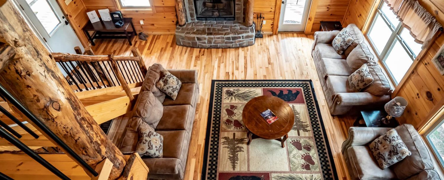 Bear Fork Lodge - View of Living Area from Loft