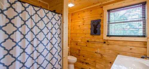 Hidden Creek Lodge - Bathroom with Dual Sinks with Toilet and Shower