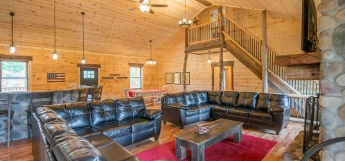 Liberty Lodge - Living Room with view of Kitchen and Dining Area