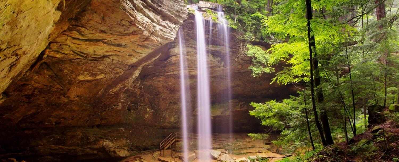 Water falling down a waterfall